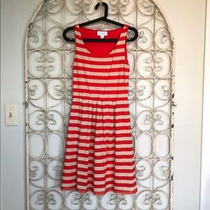 Fun Red and Creme Striped Dress